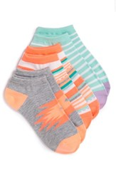 Women's Sof Sole 'All Sport Lite' No Show Socks Grey Blue Orange