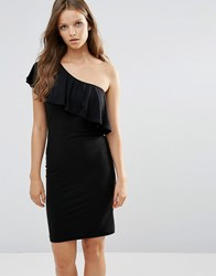 Minimum Moves One Shoulder Ruffle Dress 999Black