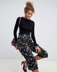 Influence Floral Wide Leg Trousers Black And Blue