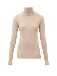 Hillier Bartley Roll Neck Ribbed Knit Cashmere Sweater Camel