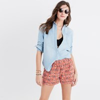 Madewell Kingston Cover Up Shorts In Hula Flower Aztec Burnt Ember