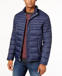 Kenneth Cole Quilted Packable Puffer Coat Navy Smoke