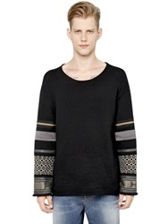 Ports 1961 Jacquard And Fabric Sleeves Cotton Sweater