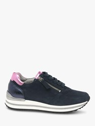 Gabor Nulon Extra Wide Fit Nubuck Lace Up Trainers Blue Rosa