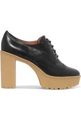 Red Valentino Paneled Lace Up Leather Pumps Black