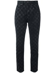 Marc Jacobs Checker Print Flood Stovepipe Jeans Black
