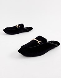 Dunlop Metal Bar Slip On Slippers Black