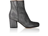 Maison Martin Margiela Women's Metallized Suede Side Zip Ankle Boots Silver