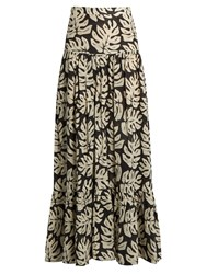 Chloe Leaf Print Gathered Cotton Blend Maxi Skirt Black White