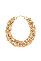 Forever 21 Braided Chain Statement Necklace Gold