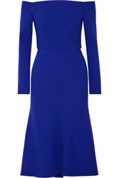 Lela Rose Off The Shoulder Stretch Wool Blend Crepe Dress Royal Blue