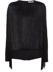 Nina Ricci Fringed Long Sleeve Top Black