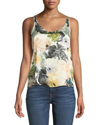 7 For All Mankind Scoop Neck Floral Print Silk Satin Tank Multi