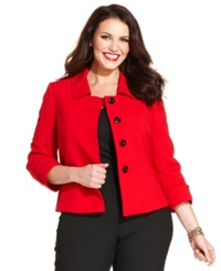 Tahari Asl Plus Size Four Button Three Quarter Sleeve Jacket Red
