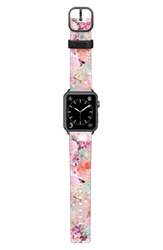 Casetify Romantic Watercolor Flowers Saffiano Faux Leather Apple Watch Strap