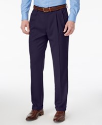 Louis Raphael Men's Straight Fit Double Pleated Dress Pants Navy
