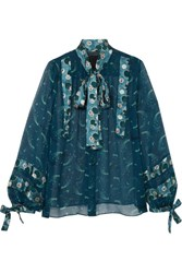 Anna Sui Cosmos Pussy Bow Printed Crinkled Chiffon Blouse Teal
