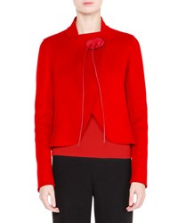 Giorgio Armani Cashmere Wrap Jacket W Leather Ties Red