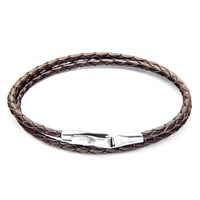 Anchor And Crew Liverpool Leather Silver Braceletdark Brown 17Cm
