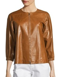 Lafayette 148 New York Wylie Lacquered Leather Jacket Ochre
