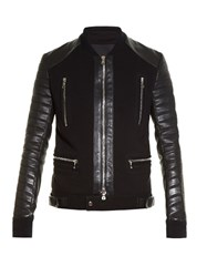 Balmain Quilted Leather Sleeved Biker Jacket Black