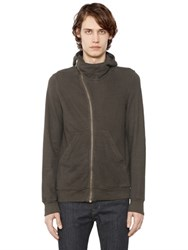 Rick Owens Drkshdw Hooded Cotton Zip Up Sweatshirt