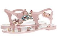 Dolce And Gabbana Carretto Jelly Sandal With Swarovski Crystals Light Pink