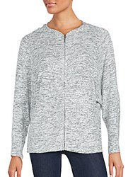 Saks Fifth Avenue Cozy Dolman Zip Hoodie Light Grey