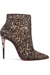 Christian Louboutin Nancy 100 Embellished Lace Trimmed Flocked Tulle Ankle Boots Gold