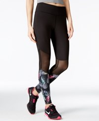 Jessica Simpson The Warm Up Mesh Inset Yoga Leggings Only At Macy's Jet Black