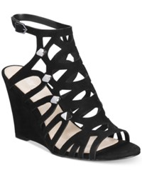 Bar Iii Lania Wedge Sandals Only At Macy's Women's Shoes Black
