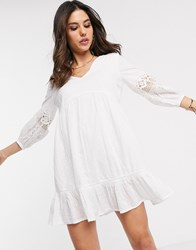 Accessorize Mini Beach Dress With Sleeve Detailing In White