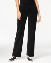 Style And Co. Petite Pull On Velour Pants Only At Macy's Deep Black