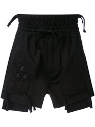 Ktz Embroidered Shorts Men Cotton L Black