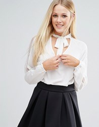 Girls On Film Pussybow Blouse With Keyhole Detail Cream