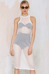 Nasty Gal Ain't Seen Nothin' Yet Sheer Tank Dress White