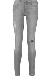 Current Elliott The Ankle Skinny Distressed Low Rise Jeans Gray