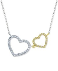 Giani Bernini Two Tone Pave Heart Pendant Necklace In Sterling Silver And 18K Gold Plated Sterling Silver Only At Macy's