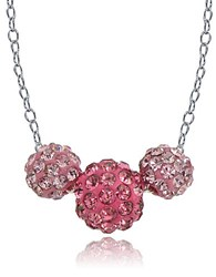 Lord And Taylor Sterling Silver Triple Fireball Necklace Pink