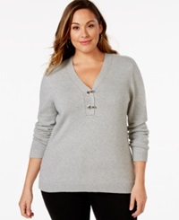 Charter Club Plus Size V Neck Hardware Sweater Only At Macy's