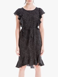 Max Studio Cap Sleeve Print Frill Dress Black Ivory