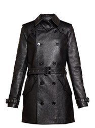 Saint Laurent Double Breasted Leather Trench Coat Black