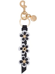 Moschino Flower Strip Key Ring Women Leather One Size White