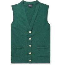 Drakes Slim Fit Wool Sweater Vest Forest Green