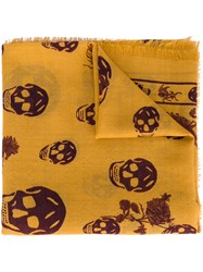 Alexander Mcqueen Skull And Badge Scarf Men Silk Wool One Size Yellow Orange