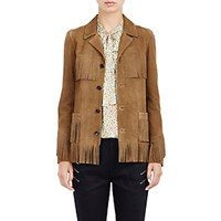 Saint Laurent Women's Fringed Suede Curtis Jacket Tan