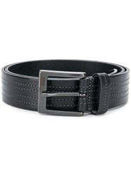 Hugo Boss Stitch Detail Buckled Belt Black