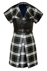 Mcq By Alexander Mcqueen Wool Plaid Dress With Leather Bustier