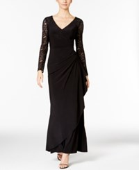 Alex Evenings Embellished Lace Gathered Faux Wrap Gown Black