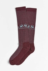 Woolrich Merino Deer Knee High Sock Maroon
